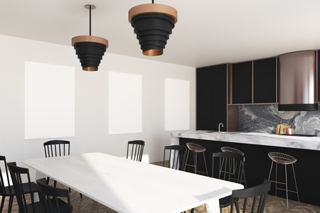 White and marble kitchen with a wooden floor, black countertops, a white marble bar stand and three posters on the wall. Side view. 3d rendering mock up