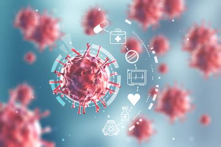 Feche acima de um vírus vermelho sob uma lupa. Há vírus vermelhos borrados no fundo. HUD e infográficos
