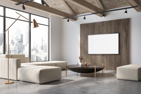 コンクリートフロアの白と木製のリビングルームコーナー、白いソファ、コーヒーテーブル、壁にポスターが飾られています。3D レンダリングモッ