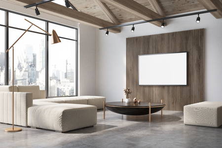 White and wooden living room corner with a concrete floor, a white sofa, a coffee table and a poster on the wall. 3d rendering mock up