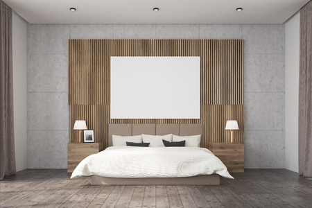 Wooden bedroom interior with a wooden floor, a master bed with two bedside tables and a large horizontal poster. 3d rendering mock up