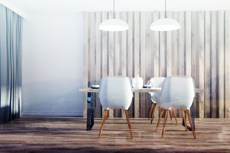 White and wooden dining room interior with a long wooden table, white chairs and an original door. 3d rendering mock up double exposure toned image