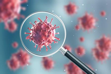 Sluit omhoog van een rood virus onder een vergrootglas. Er zijn wazige rode virussen op de achtergrond