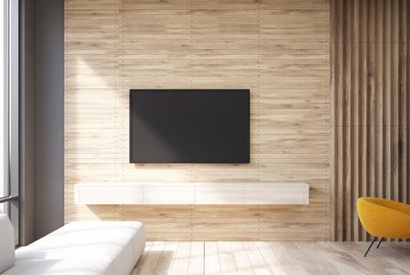 Soggiorno in legno interno con un televisore appeso al muro e uno stretto divano vicino a una finestra panoramica. Rendering 3D mock up Archivio Fotografico