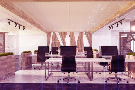 Conference Room Interior With A Long Table, Black Chairs And.. Stock ...