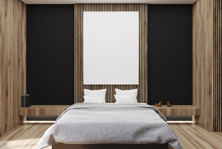 Modern bedroom interior with black and wooden walls, a wooden floor, a bookshelf and a master bed with a vertical poster hanging above it. 3d rendering mock up Banque d'images - 90870585