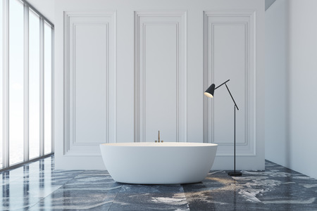 White bathroom interior with a black marble floor, a panoramic window and a white bathtub. 3d rendering mock up
