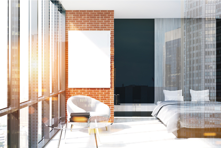 Modern bedroom interior with black, brick and wooden walls, a concrete floor, an armchair and a master bed with a vertical poster hanging above it. 3d rendering mock up double exposure toned image Banque d'images - 90870439