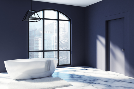 Black bathroom corner with a white marble floor, a large window and a white tub near a closed door. 3d rendering mock up