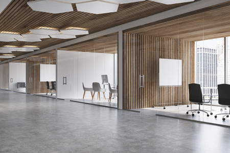 Wooden ceiling office lobby with white and wooden walls, a concrete floor and glass doors. A poster. 3d rendering mock up
