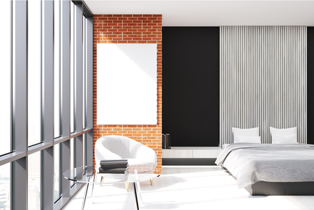 Modern bedroom interior with black, brick and wooden walls, a concrete floor, an armchair and a master bed with a vertical poster hanging above it. 3d rendering mock up Banque d'images - 91305762