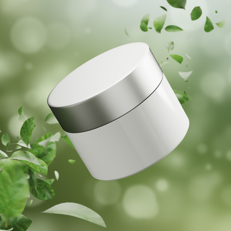 White cream jar against a green background with leaves in the corners. Concept of self care. 3d rendering mock up