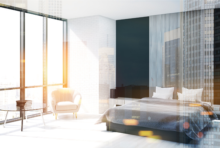 Modern bedroom interior with black, wooden and wooden walls, a concrete floor and a master bed with a vertical poster hanging above it. Side view 3d rendering mock up double exposure toned image