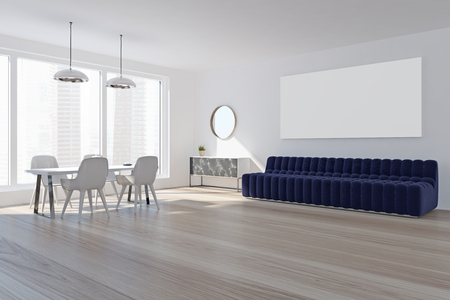 White living room interior with a long poster hanging above a sofa and a dining room table with white chairs. 3d rendering mock up