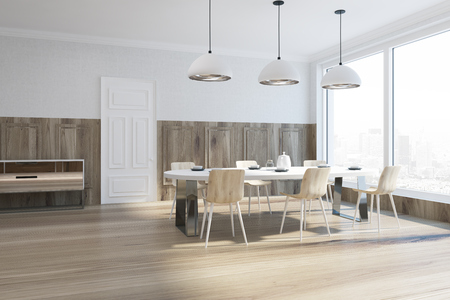 Wooden and white dining room corner with a panoramic window, a wooden floor and a white table with chairs. 3d rendering mock up