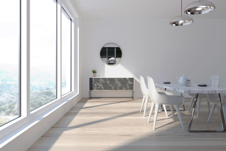 White dining room interior with a panoramic window, a wooden floor and a white table with white chairs. A chest of drawers and a mirror. 3d rendering mock up