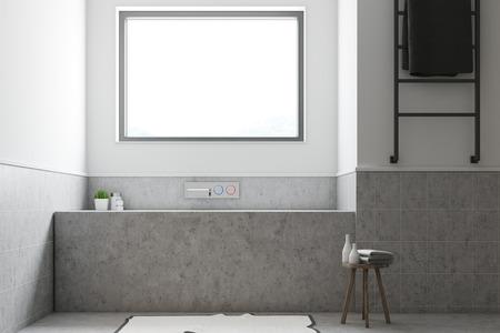 White and gray bathroom interior with a concrete floor, and a gray bathtub with a window above it. 3d rendering, mock up