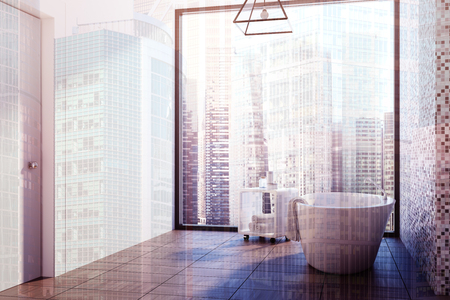 White and gray tiled bathroom corner with a white tub standing on a wooden floor near a chair with self care products. 3d rendering mock up double exposure toned image Stock Photo