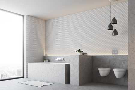White bathroom corner with a gray floor and a gray bathtub with two toilets, and a panoramic window. 3d rendering, mock up Banco de Imagens