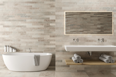 White wooden bathroom interior with a double sink with a dark wooden shelf under it and two narrow vertical mirrors. A round white tub in the corner. 3d rendering mock up
