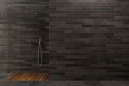 Black wooden bathroom interior with a glass wall shower stall in the corner. Concept of luxury and relaxation. 3d rendering mock up