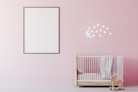 Nursery interior with pink walls, a concrete floor, a cradle with the Moon and stars above it and a framed poster. A toy on the floor. 3d rendering mock up Stock Photo