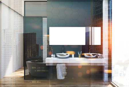 Gray hexagon tile bathroom inteiror with a double sink with a long horizontal mirror above it and a large window in the background. 3d rendering double exposure toned image