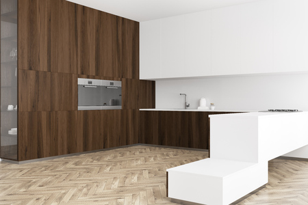 White and wooden kitchen corner with a wooden floor, dark wooden and white countertops. 3d rendering mock up