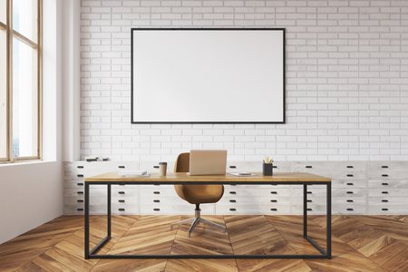 Side view of a white brick CEO office interior with a wooden floor, a large table with a computer on it and a poster. Front view 3d rendering mock up