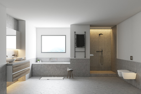 White and gray bathroom interior with a concrete floor, a gray bathtub and a double sink. Front view. 3d rendering, mock up