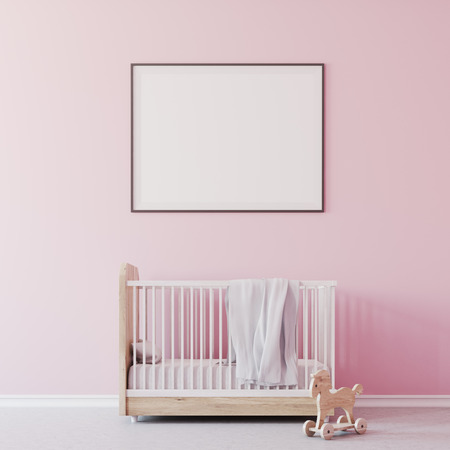Nursery interior with pink walls, a concrete floor, a cradle with a framed poster above it . A toy on the floor. 3d rendering mock up