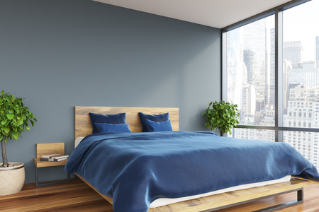 Intérieur Gris Chambre à Coucher Avec Un Plancher En Bois Et Un Lit ...