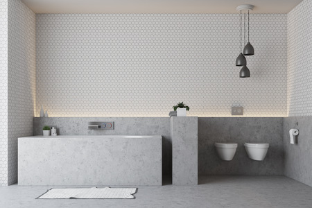 White bathroom interior with a gray floor, a gray bathtub and a double toilet. 3d rendering, mock up