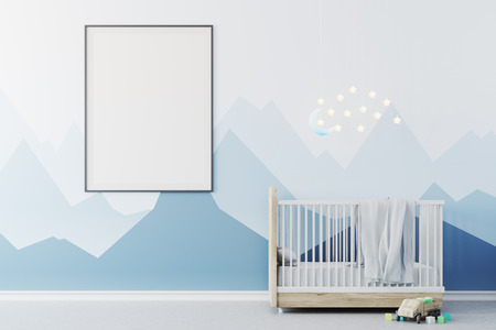 Nursery interior with blue walls, a concrete floor, a cradle with the Moon and stars above it and a framed poster. A toy on the floor. 3d rendering mock up