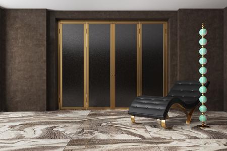 Luxe woonkamerinterieur met donkerbruine muren, een marmeren vloer, een gouden en zwarte kast en een zwarte leunstoel die naast een originele lamp staat. 3D-rendering mock up