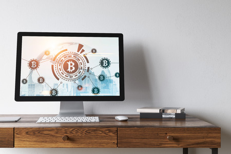 White computer screen with a bitcoin icon, a network sketch and a cityscape on it standing on a wooden table. 3d rendering toned image Elements of this image furnished by NASA