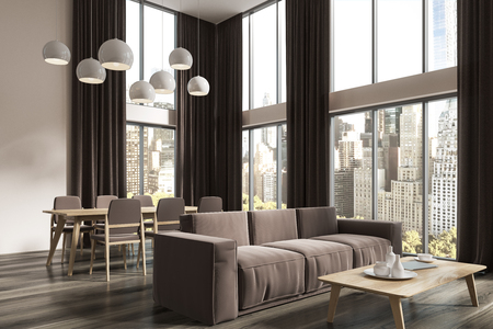 Panoramic living room corner with white walls, large windows with brown curtains, a brown sofa near a coffee table and a dining room table in the background. 3d rendering Stok Fotoğraf