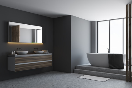 Black bathroom corner with a concrete floor, a white tub, and a double sink. A panoramic window. 3d rendering mock up