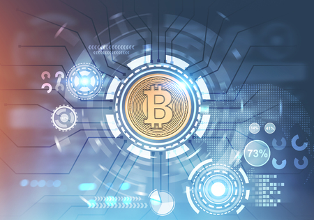 Shiny gold bitcoin in the center of a HUD interface. A blurred blue background. Double exposure toned image. Concept of trading Stock Photo