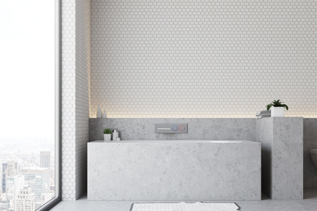 White bathroom interior with a gray floor and a gray bathtub with a panoramic window next to it. 3d rendering, mock up