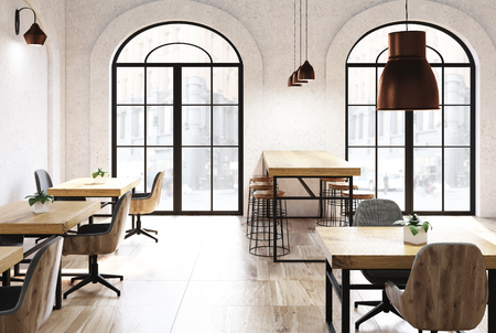 Concrete cafe interior with a wooden floor, tables and chairs. Arch like windows. A side view. 3d rendering mock up Stock Photo