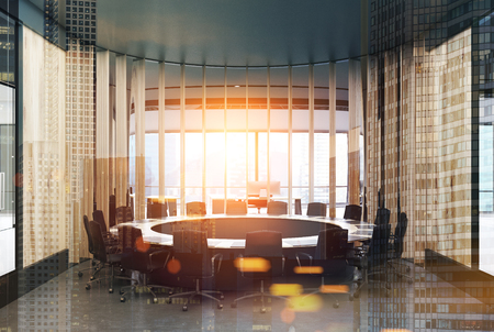 Round wooden conference room interior with wooden walls, a round table with black chairs near it and panoramic windows. 3d rendering mock up double exposure toned image