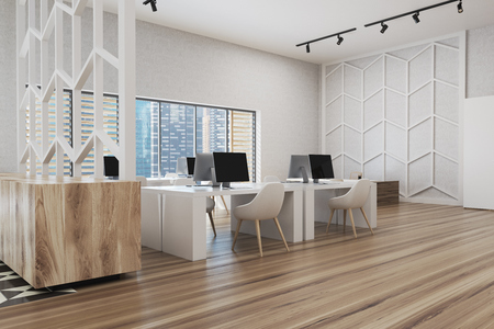 Wooden floor office corner with white walls, panoramic windows, white and wooden computer tables and a patterned wall. 3d rendering mock up