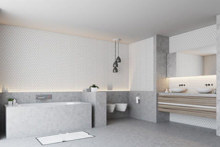 White bathroom corner with a gray floor and a gray bathtub with a toilet, and a double sink. 3d rendering, mock up