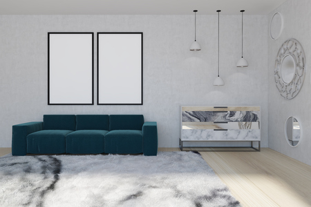 White wall living room interior with a soft carpet, a blue sofa with two posters hanging above it and a marble chest of drawers near a mirror wall. 3d rendering mock up
