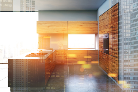 Gray and dark wooden kitchen interior with a concrete floor, gray walls, panoramic windows and a bar stand. 3d rendering mock up double exposure toned image