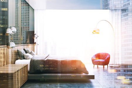 Gray bedroom interior with a concrete floor, a master bed with two wooden bedside tables and a panoramic window. A side view. 3d rendering mock up toned image double exposure