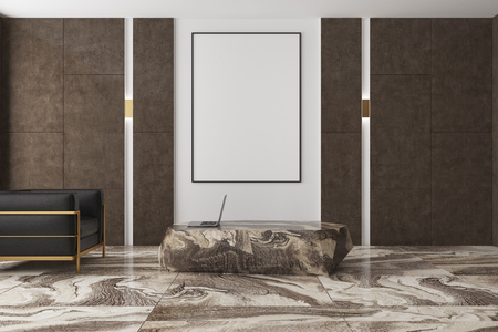 Modern living room interior with a brown marble floor, brown and white walls and a black armchair near a vertical poster and a massive table. 3d rendering mock up