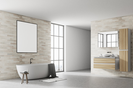 Corner of a modern bathroom with white and brick walls, a concrete floor a white tub and a poster. 3d rendering mock up Stock Photo