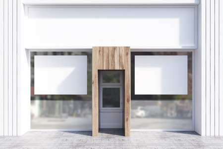 Light and white wooden cafe facade with two horizontal posters and a glass door. 3d rendering, mock up Stock Photo